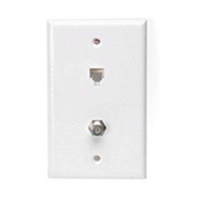 Telephone Jack, White 1-Gang 2-6P6C Flush-Mt on Wall